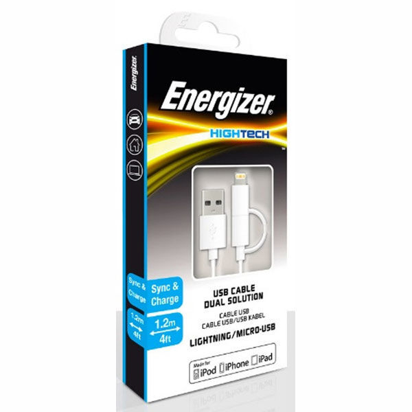 Picture of Lightning Micro USB Cable 1.2m - Energizer