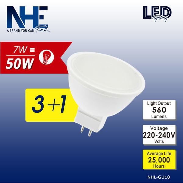 NHE LED 3+1 MR16-7W 6500K NHL-GU10