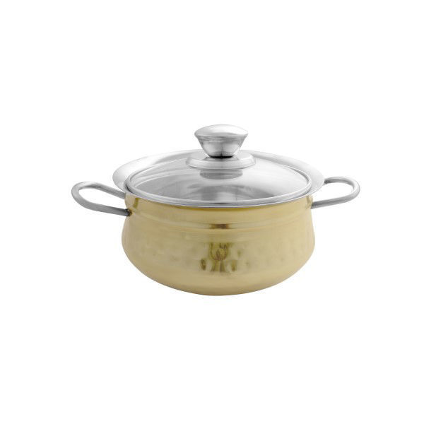 Picture of STAINLESS STEEL DOUBLE WALL HANDI WITH GLASS LID 13 CM